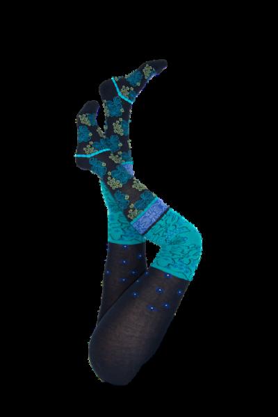 Crönert Strumpfhose Mathildas Blüten blau