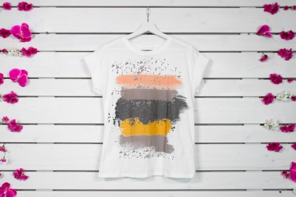 T-Shirt mit Aufdruck orange-beige