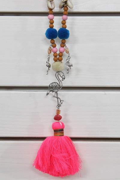Hippiekette pink mit Flamingoanhänger
