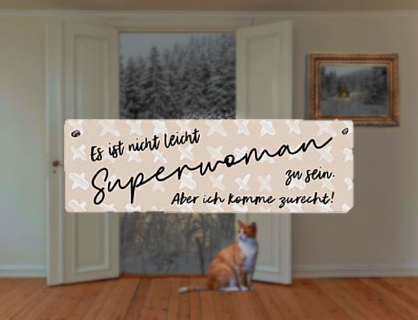 """Holzschild """"Superwoman"""" mit Aufhänger"""