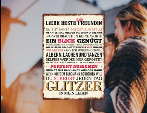 """Wandschild Metall """"Liebe beste Freundin"""""""