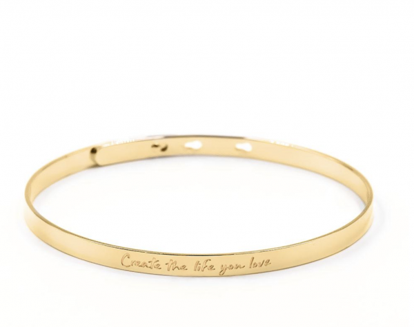 "Purelei ""Create the life you love""-Armreif in gold"