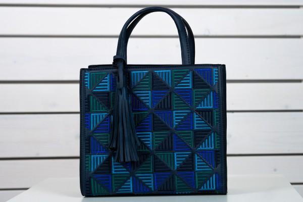 Quadratische Tasche in blau