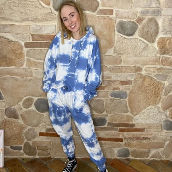 Batik Hoodie-Jogger, Zweiteilig, blau, onesize