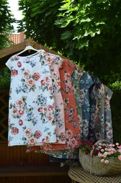 Leinenkleid in 8 Farben mit Blumenmuster