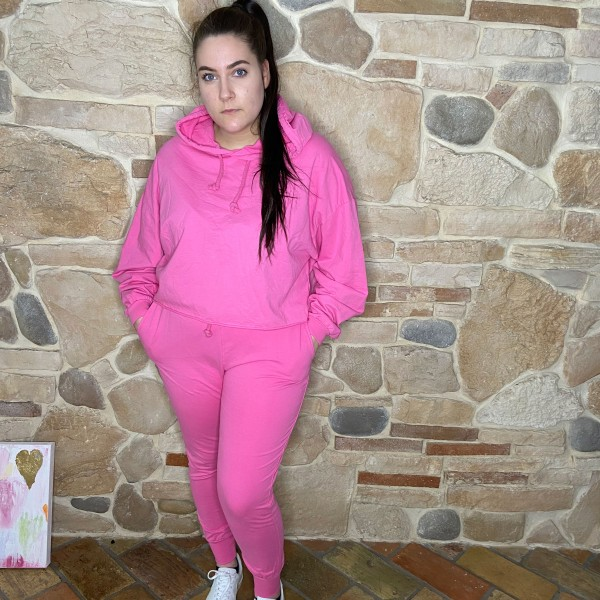 Hoodie-Jogger, Zweiteilig, pink