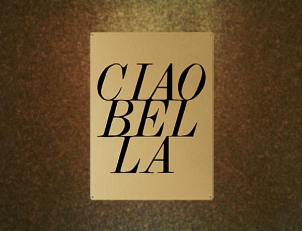 """Gold Wandschild Metall """"Ciao Bella"""""""