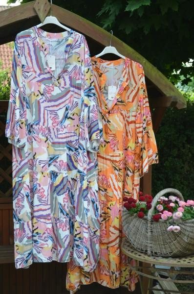 Maxi Volantkleid mit Print in orange-gelb und weiß-bunt