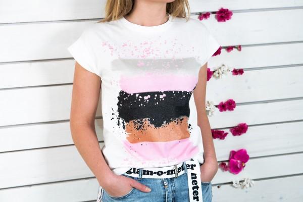 T-Shirt mit Aufdruck rosa-schwarz