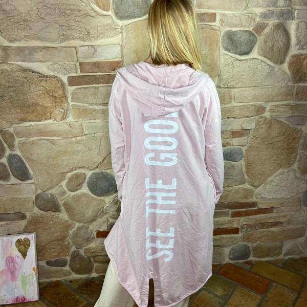 "Sweatshirt-Jacke ""See the good"" rosa"